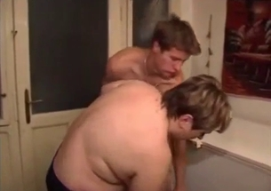 Fat mom with short hairs slowly sucks my dick