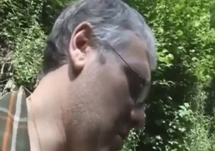 Big-boobed stepdaughter sucks her dad in the forest