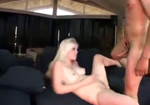 Daddy drills his impressive stepdaughter on the sofa