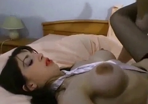 Big-tit stepdaughter takes her father's fat prick