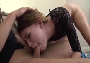 Skinny young sister eats my prick like a freaking pro