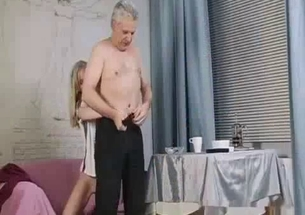 Nasty grandfather licks granddaughter's shaved pussy