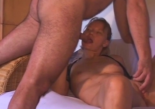 Slim young daughter slowly sucks her father